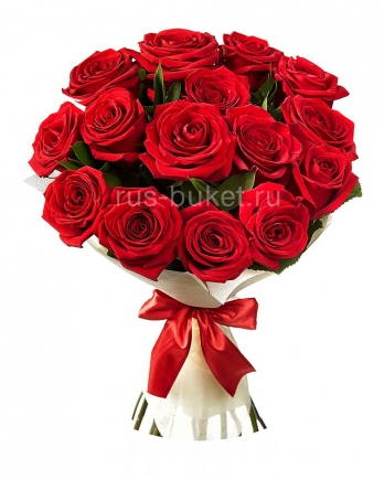 Роза красная 15 фетр лента