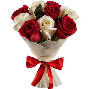 9 Red and white roses