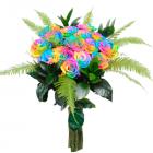 Букет из 15 радужных роз