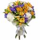 Роза белая 50см - 5, Альстромерии - 5, Ирисы - 7, Фетр, Лента