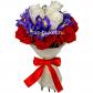 Роза красная 50см - 6, Роза белая 50см - 3, Ирисы - 7, Фетр, Лента